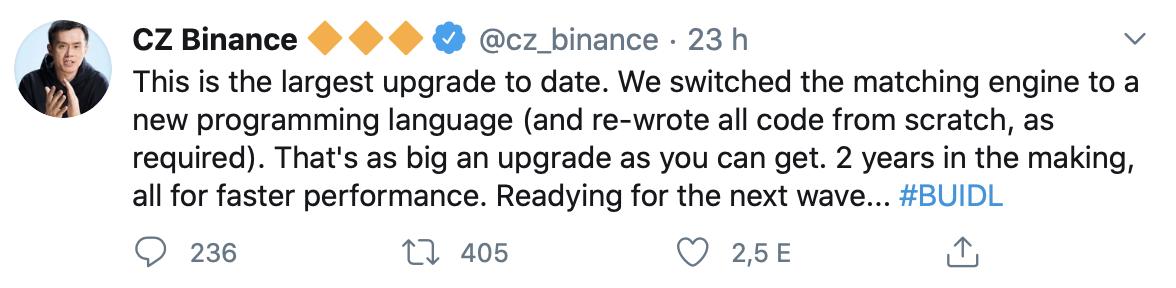 Binance frissítés CZ I Cryptofalka