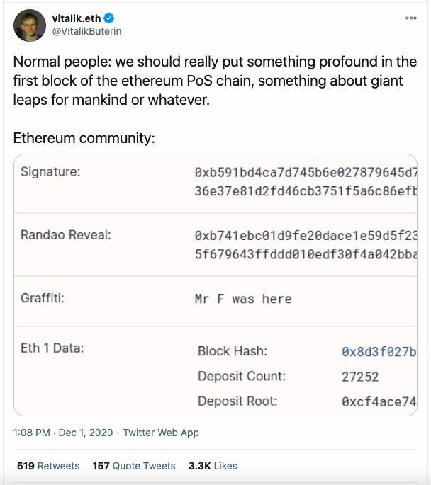 Ethereum 2.0 első blokk