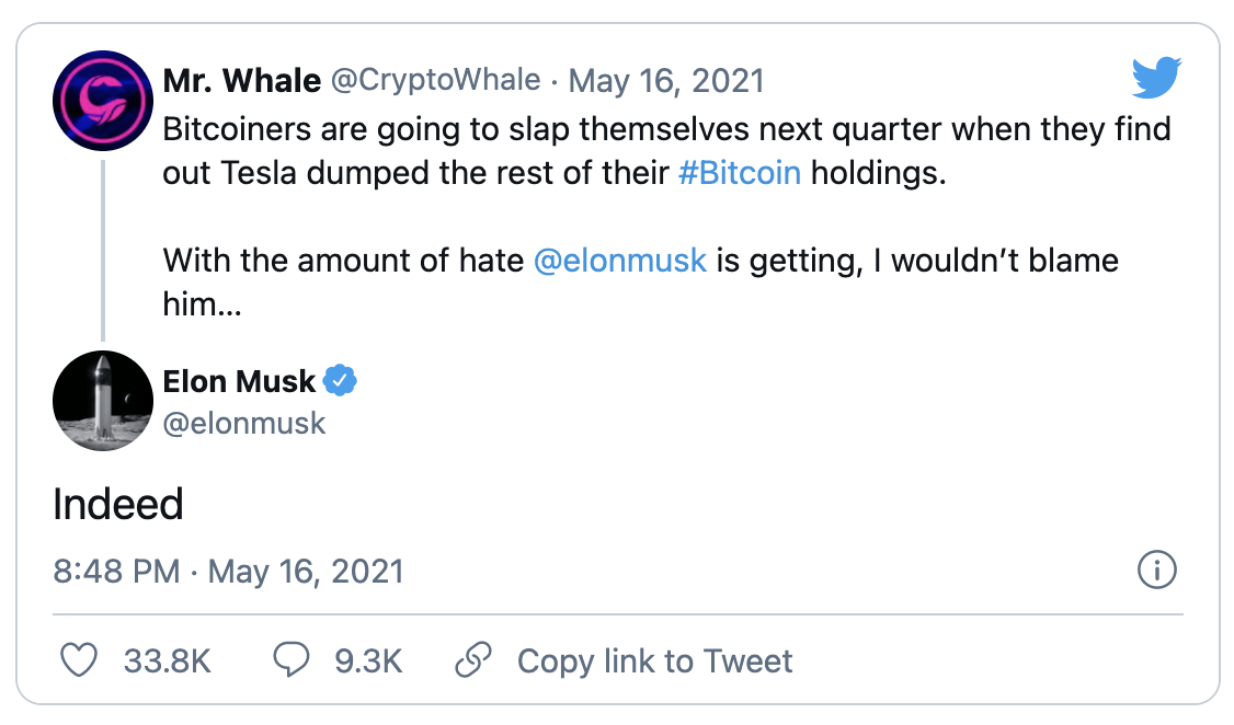 Musk Bitcoin tweet | Cryptofalka