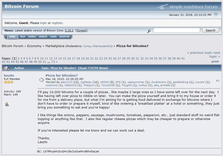 bitcoin pizza | Cryptofalka